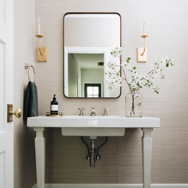 "Kenowa Builders"" Modern Neutral Bathroom Design, Neutral Powder Room, Jean Stoffer Design, Michigan custom builder"