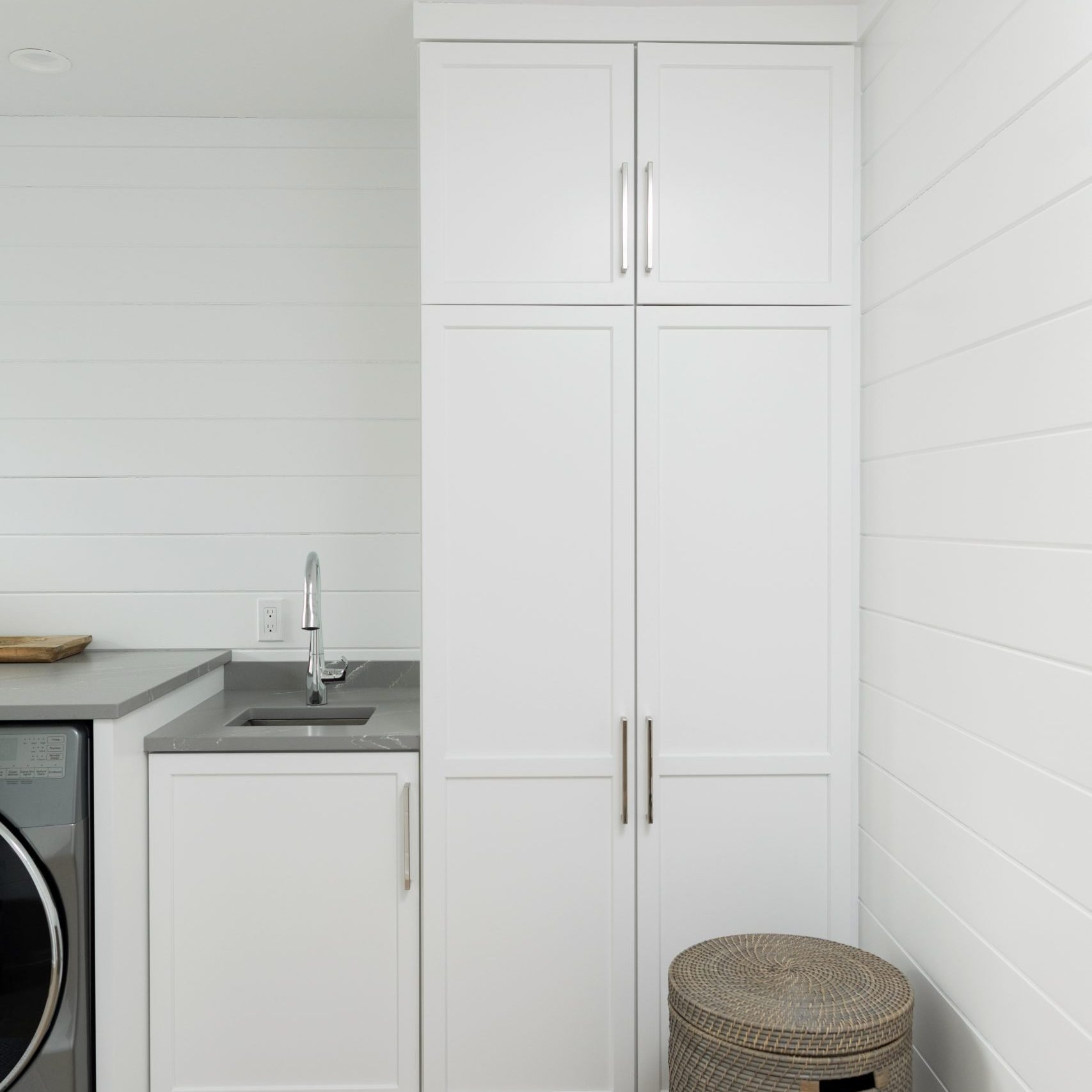 Laundry Room Design, White Laundry Room with shiplap, modern farmhouse Mudroom, Grand Rapids remodeling