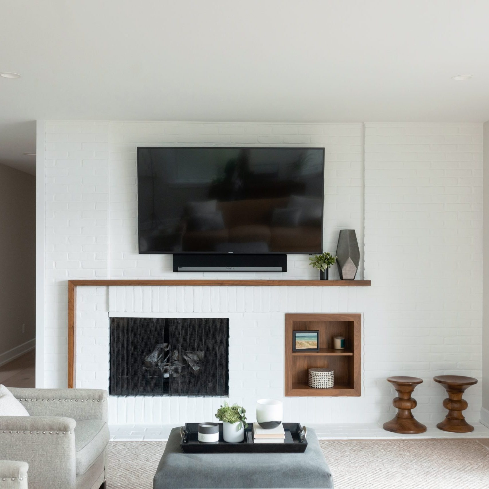 Modern Living Room Design, Modern Family Room decor with painted brick fireplace, Grand Rapids remodeling
