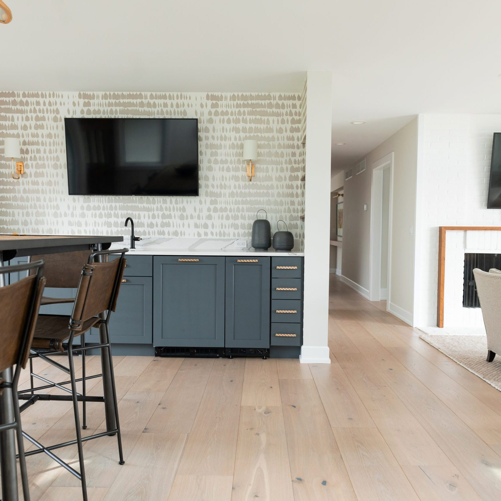Modern Home Bar with Wine Cabinet, Wine Storage Modern Dining Room, Grand Rapids remodeling