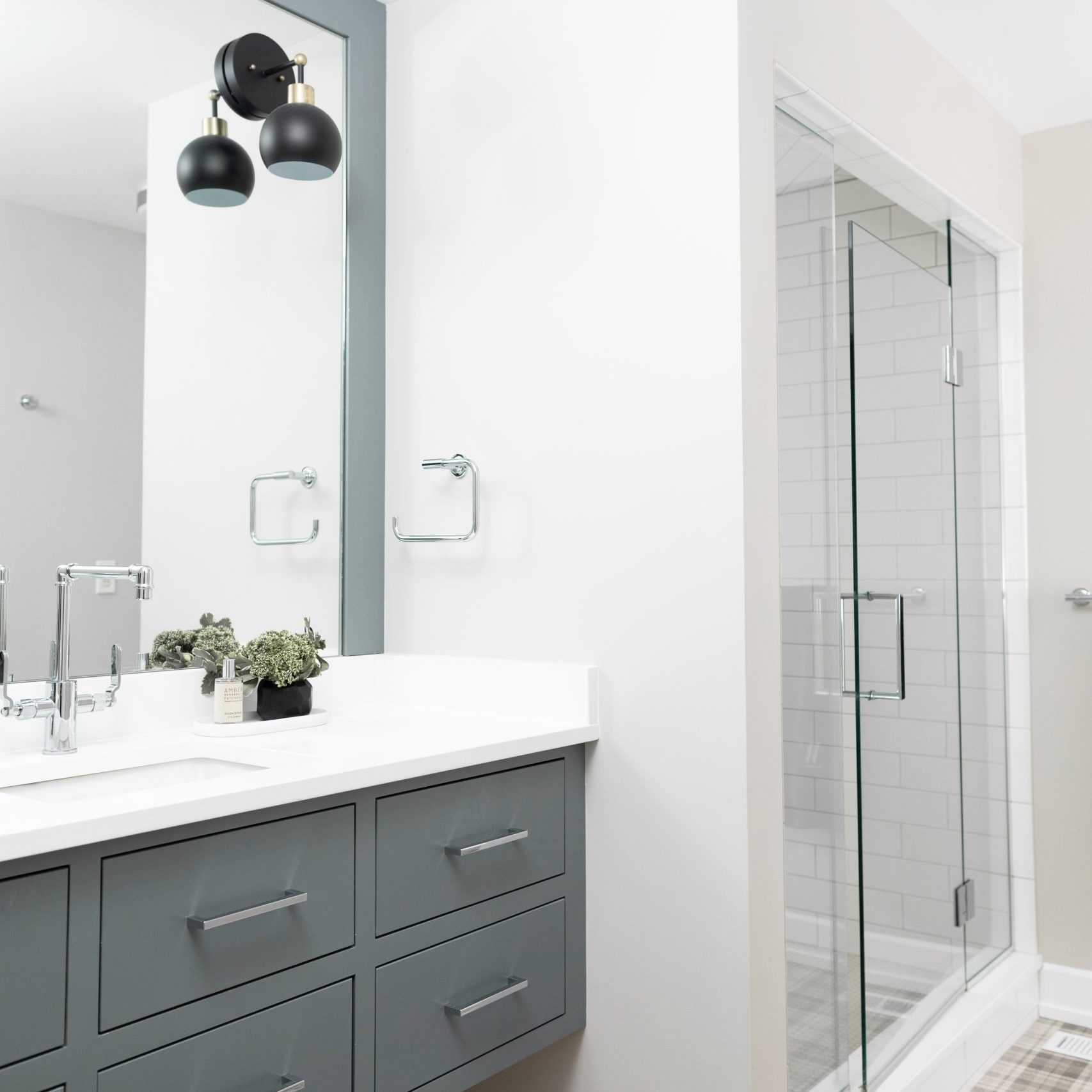 Neutral Bathroom design with gray cabinets, Neutral Bathroom Design, Kenowa Builders-Grand Rapids remodeling