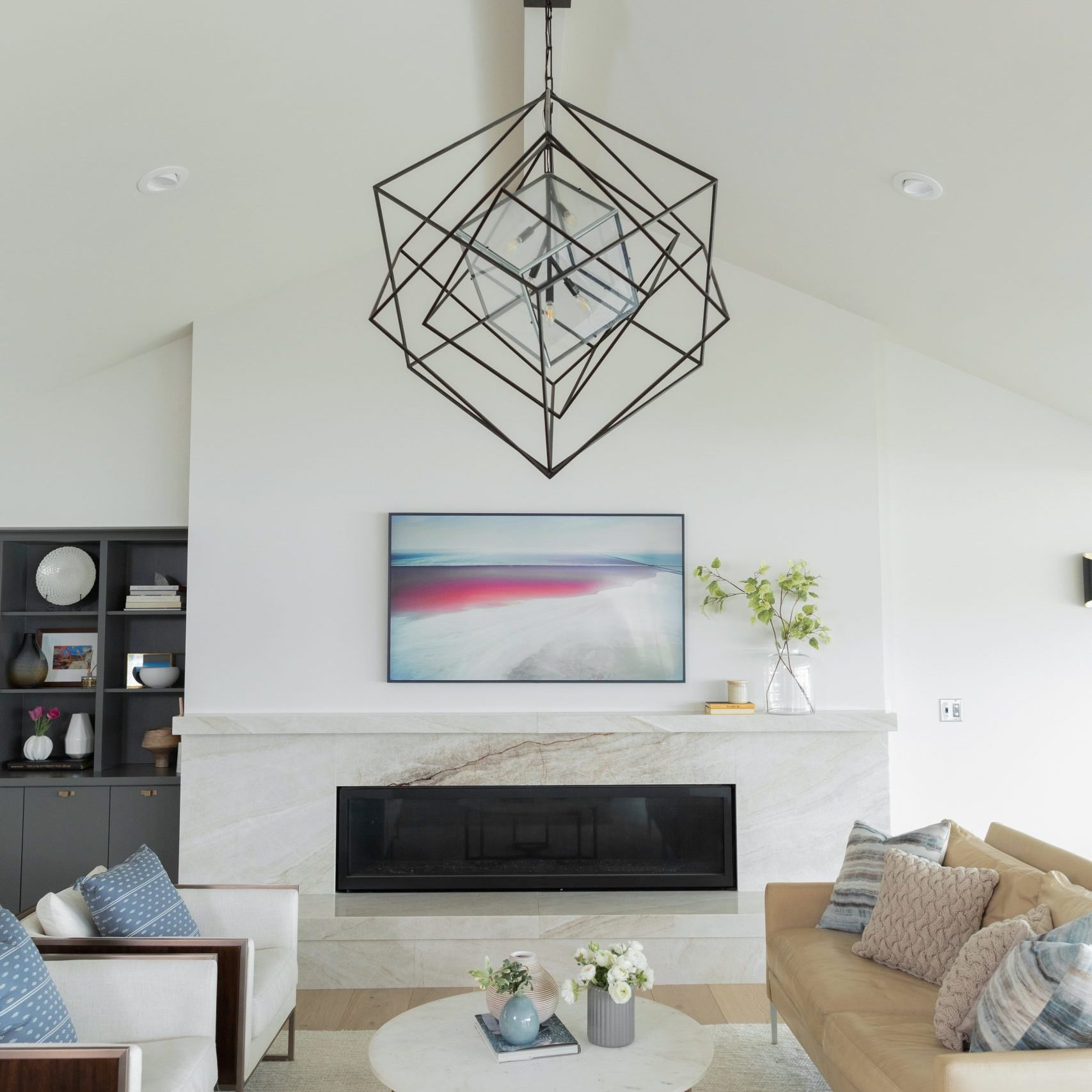 Modern Living Room Design with marble fireplace, Modern Family Room Decor, Kenowa Builders-Grand Rapids builder