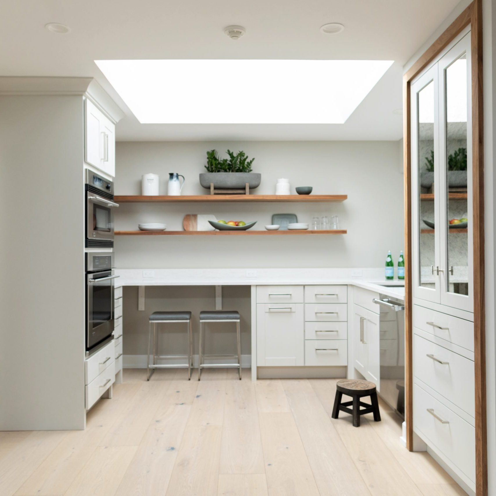 Butler's Pantry Design, White Kitchen Design with open shelves, Grand Rapids remodeling