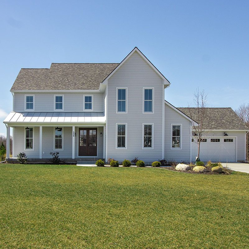Kenowa Builders: Modern Farmhouse Exterior and Front Porch, Gray House Exterior
