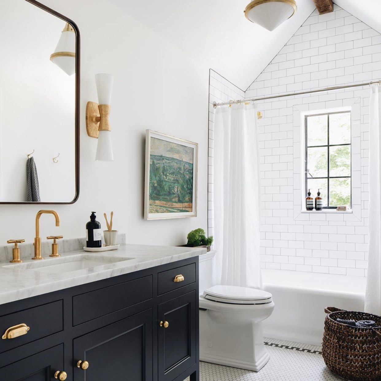 Kenowa Builders: Neutral Bathroom Design, Traditional Bath with subway tile shower and black vanity, Jean Stoffer Design, Michigan custom home builder