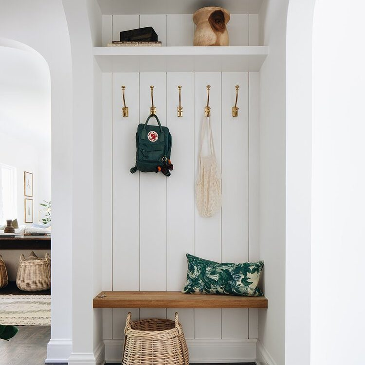 Kenowa Builders Modern Neutral Foyer, Neutral Mudroom with Shiplap with Jean Stoffer Design