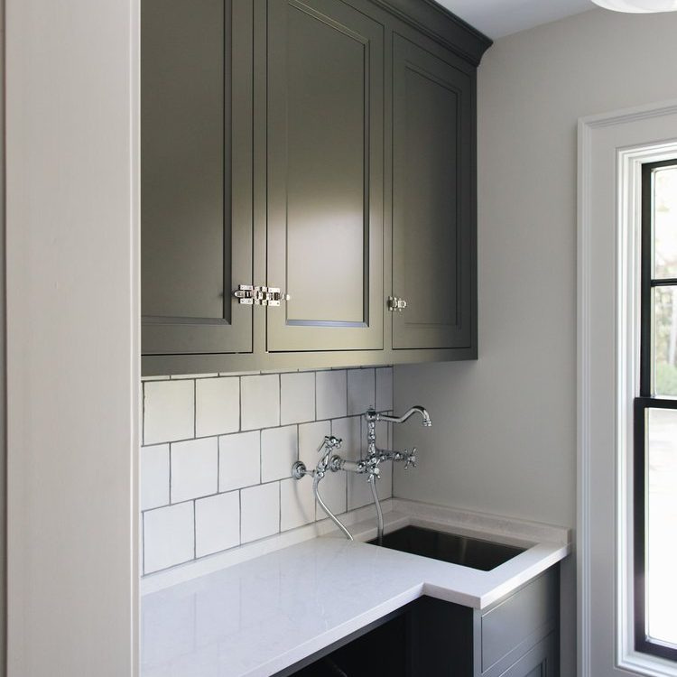 Kenowa Builders Modern Neutral Laundry Room, Neutral mudroom with Jean Stoffer Design