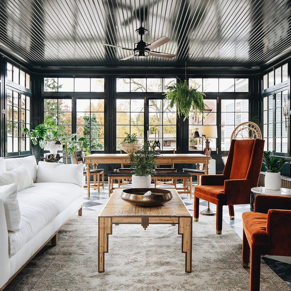 Kenowa Builders The Madison Renovation Project, Design: Jean Stoffer Design, historic remodel, Powder Room design, Sunroom design, sunporch with fireplace and black white checker floor