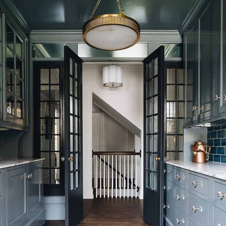 Kenowa Builders The Madison Renovation Project, Design: Jean Stoffer Design, historic remodel, Michigan builder, kitchen design, blue kitchen with blue cabinetry, Butler's Pantry