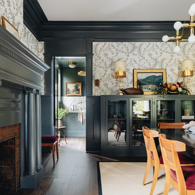 Kenowa Builders The Madison Renovation Project, Design: Jean Stoffer Design, historic remodel, Michigan formal dining room design, dining room decor fireplace