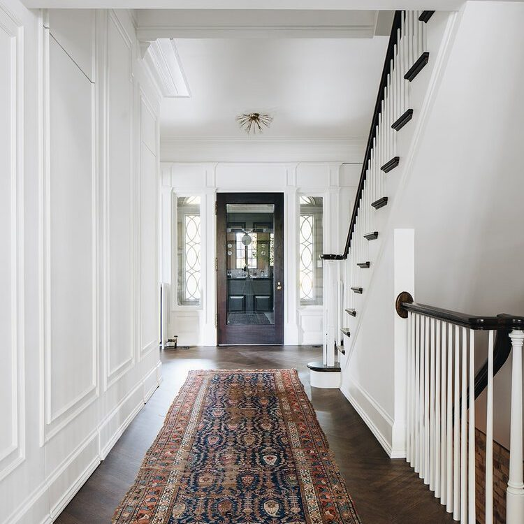 Kenowa Builders The Madison Renovation Project, Design: Jean Stoffer Design, historic remodel, Michigan formal foyer design, front entry design, front door and stairway