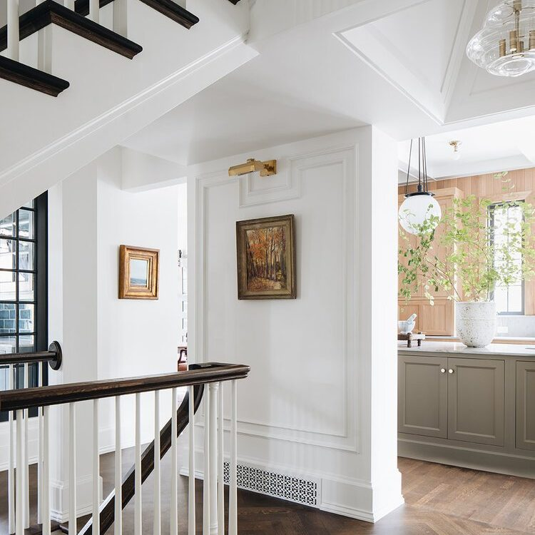 Kenowa Builders The Madison Renovation Project, Design: Jean Stoffer Design, historic remodel, Michigan formal foyer design, front entry design and formal staircase, historic staircase