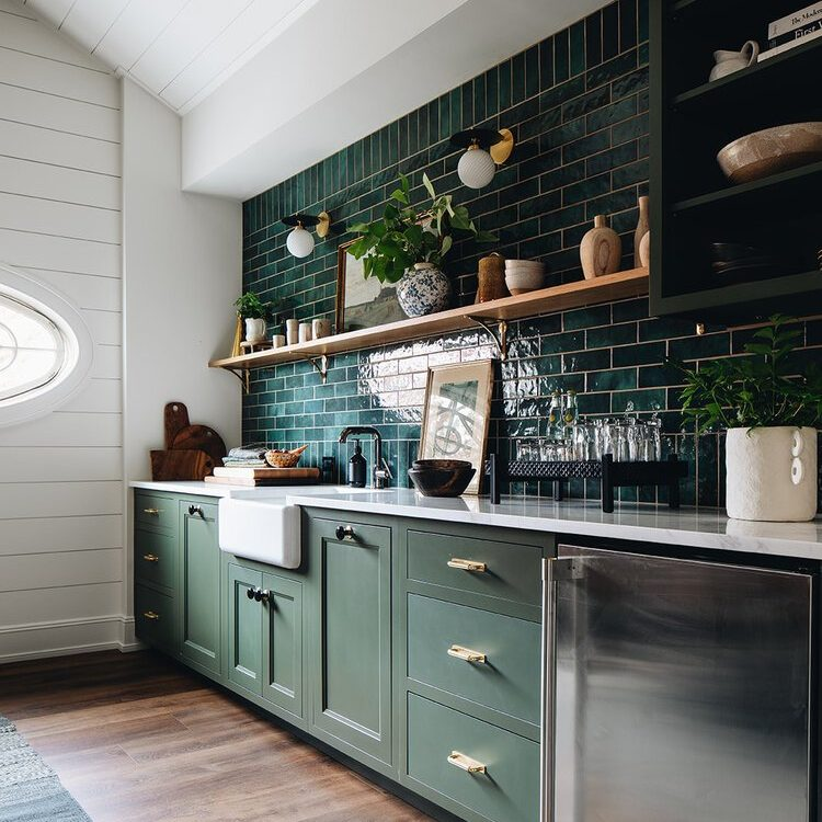 Kenowa Builders The Madison Renovation Project, Design: Jean Stoffer Design, historic remodel, Michigan builder, kitchen design, green kitchen with green cabinetry
