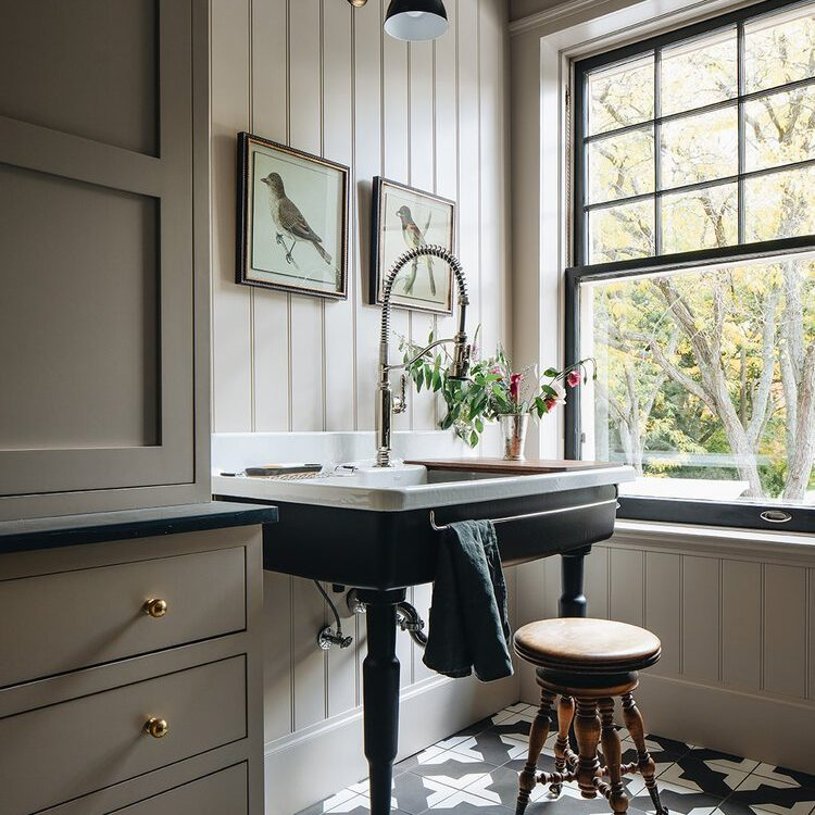 Kenowa Builders The Madison Renovation Project, Design: Jean Stoffer Design, historic remodel, laundry design, laundry decor, cement tile and vertical paneling
