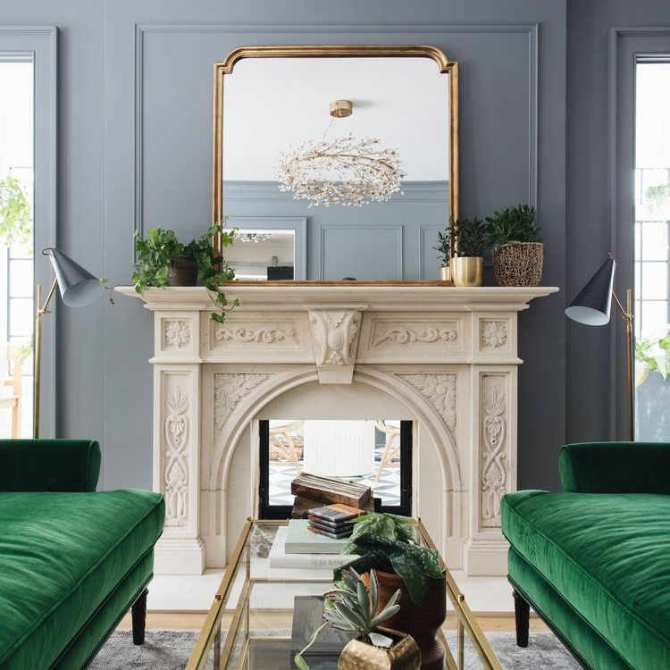 Kenowa Builders Formal Living Room Design with fireplace and wainscotting, with Jean Stoffer Design