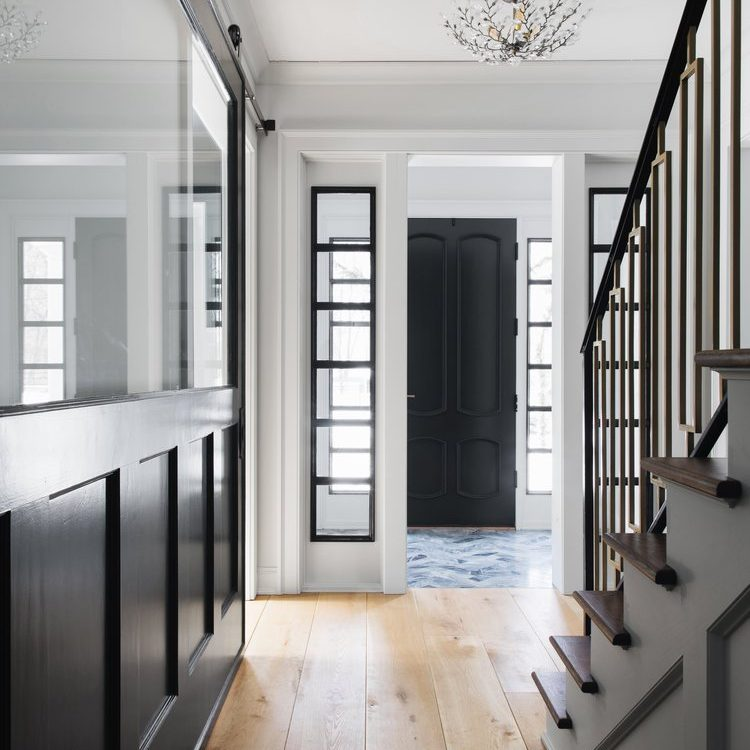 Kenowa Builders modern neutral staircase, neutral foyer with Jean Stoffer Design