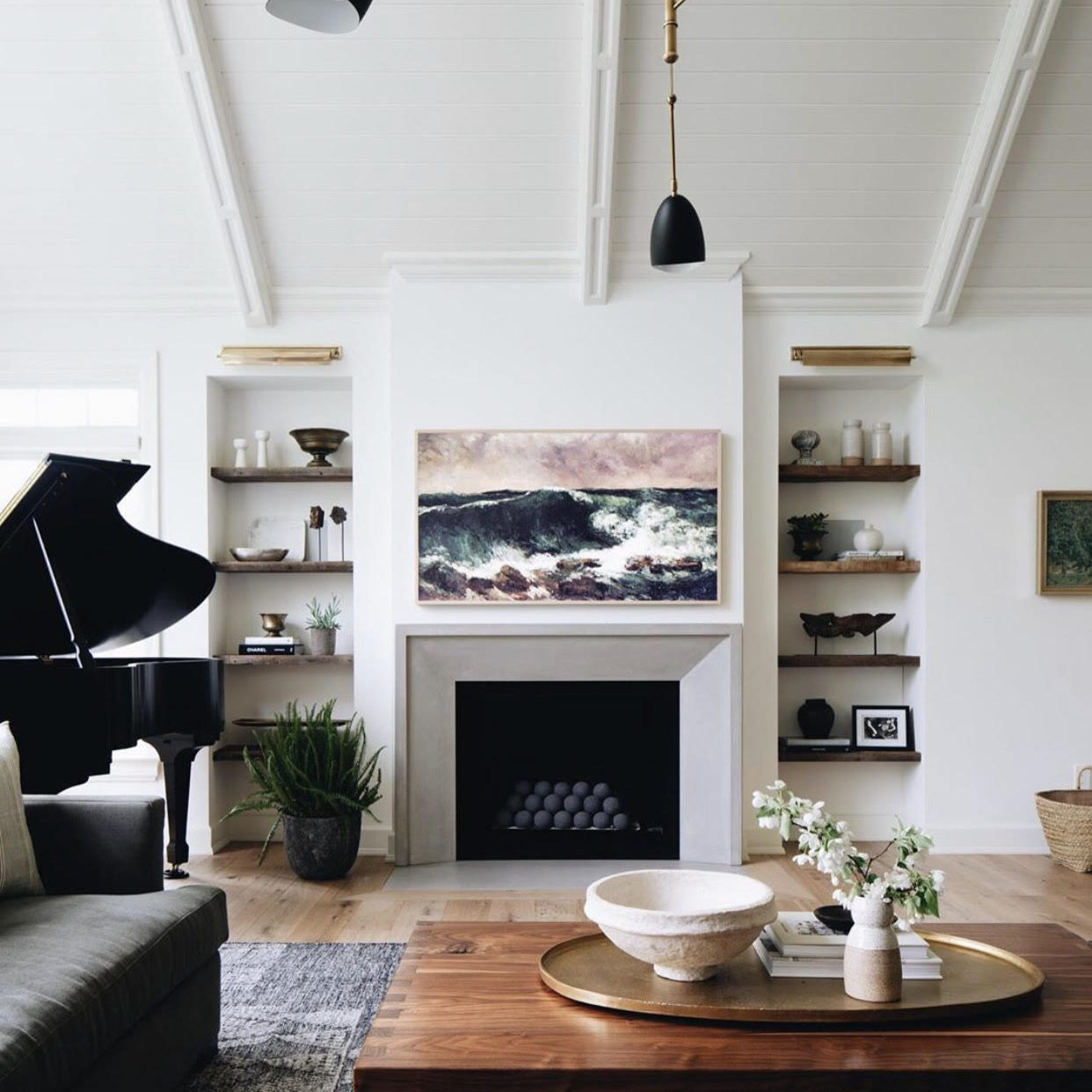Modern Neutral Living Room by Kenowa Builders, Modern Farmhouse Living Room Design, Modern Fireplace