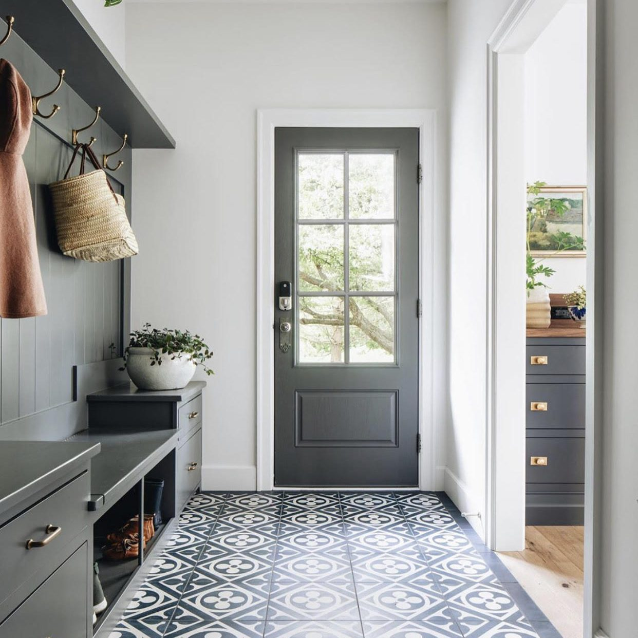 Modern Farmhouse Mudroom by Kenowa Builders, Gray Lockers and Bench in Mudroom Design