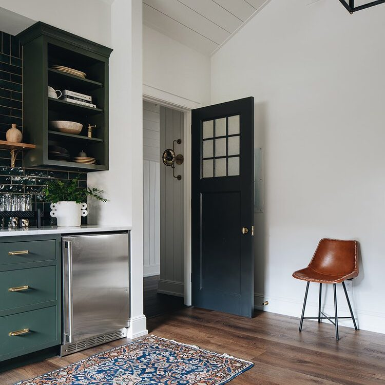Kenowa Builders: The Madison renovation, Green Kitchen with green tile and green cabinets, Attic Kitchenette