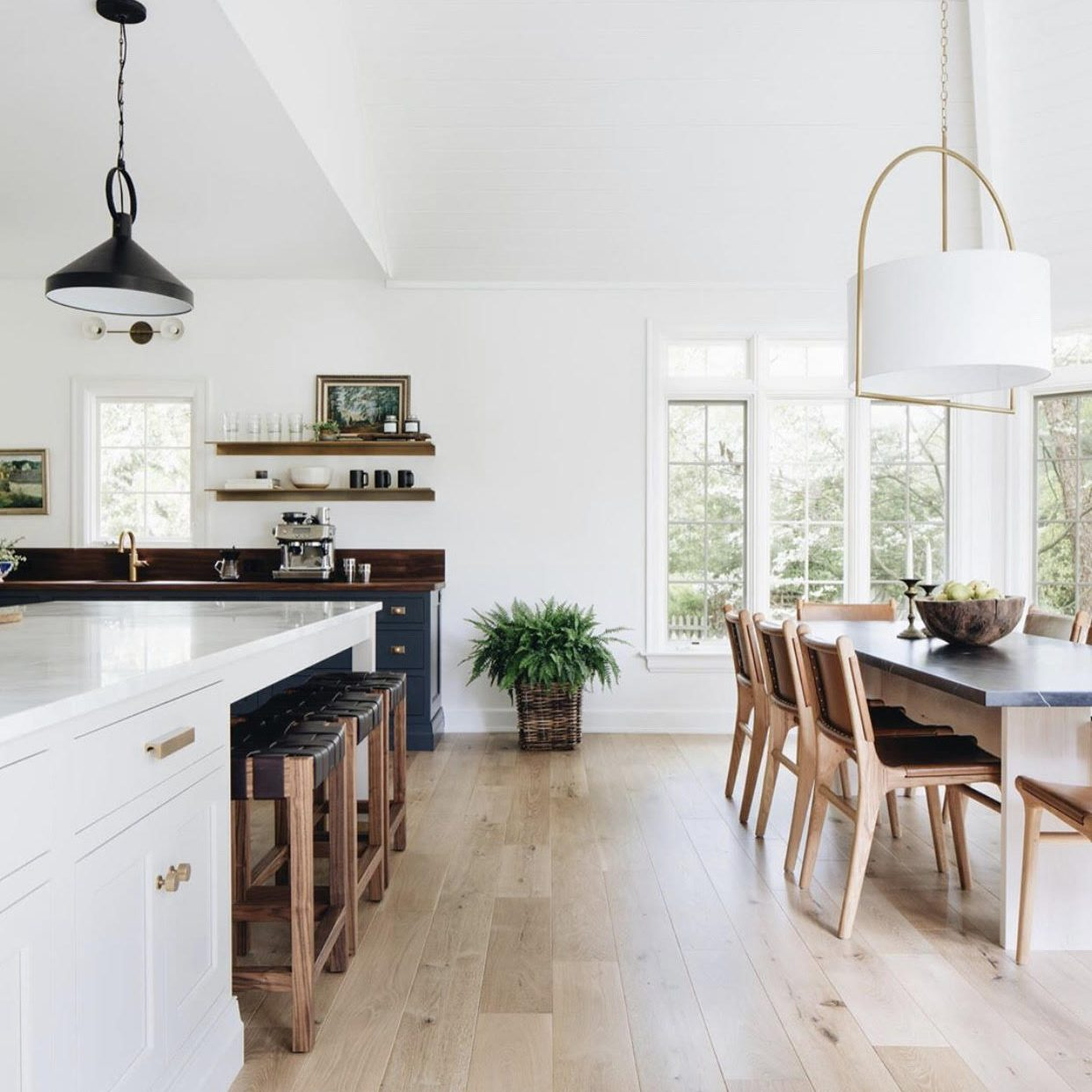 Modern Farmhouse Kitchen Makeover, Neutral Kitchen Design navy cabinets Kenowa Builders