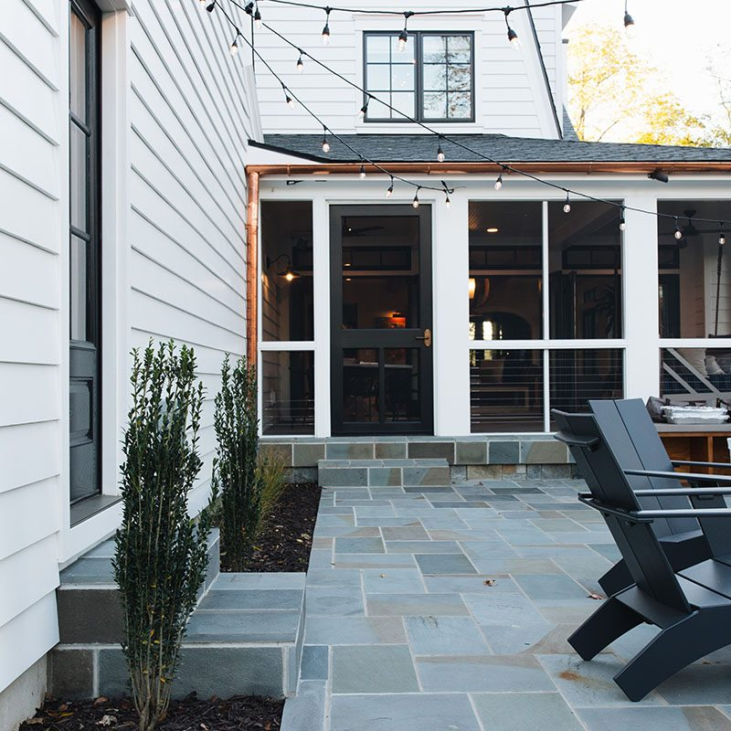 Kenowa Builders Modern Farmhouse Exterior, White House Remodel Dutch Colonial Back Patio