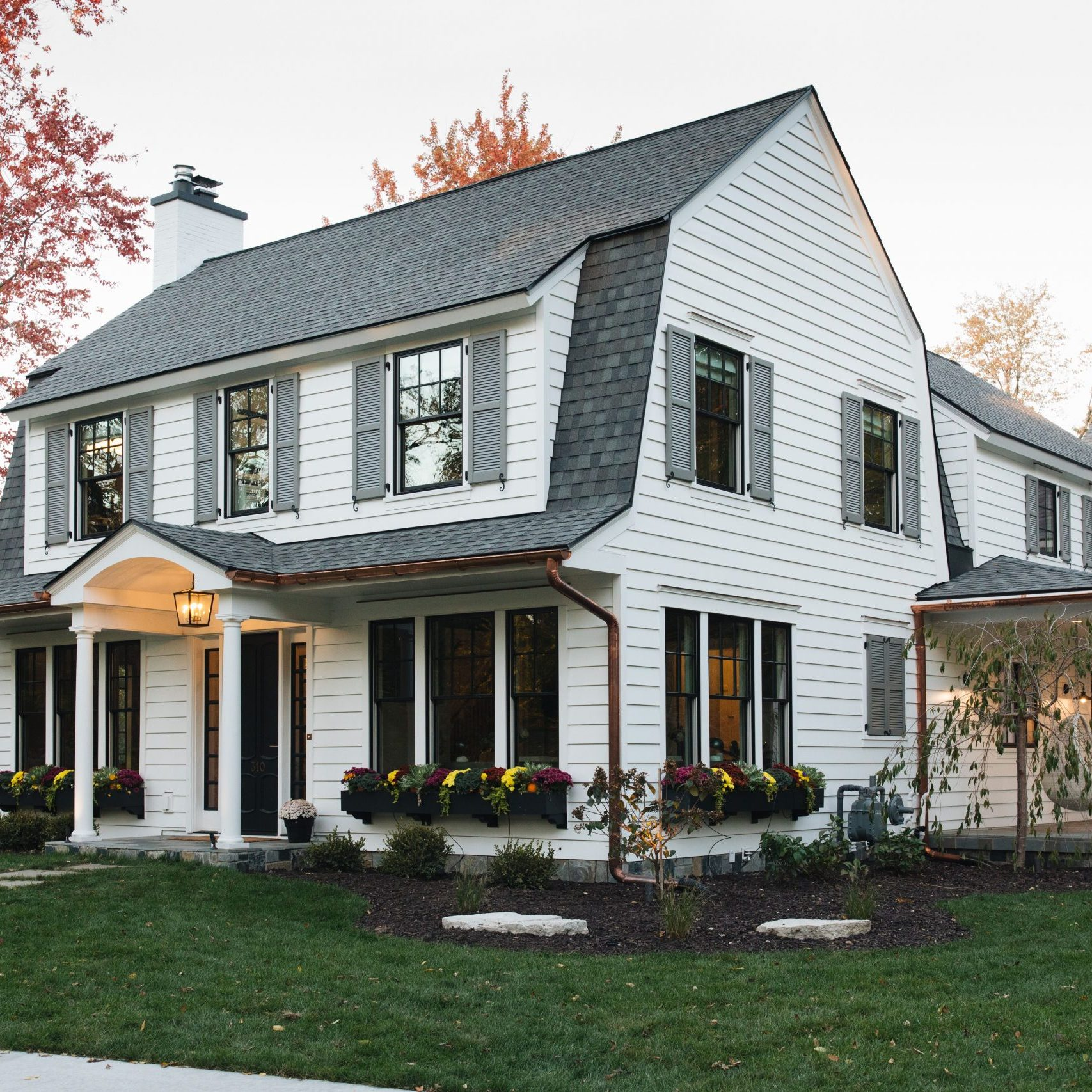 Kenowa Builders Modern Farmhouse Exterior, White House Remodel Dutch Colonial
