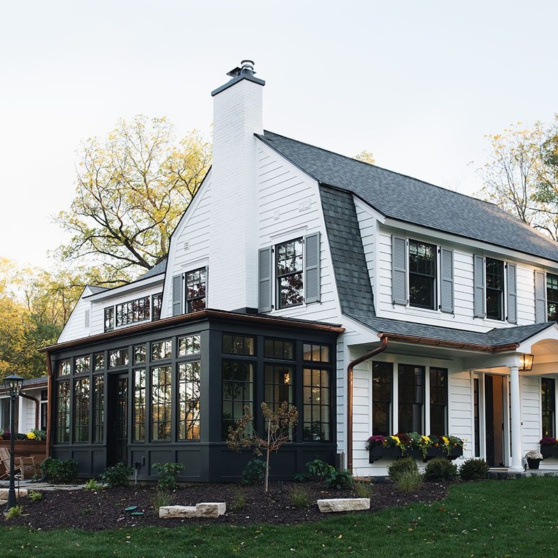 Kenowa Builders Modern Farmhouse Exterior, White House Remodel Dutch Colonial Front Porch