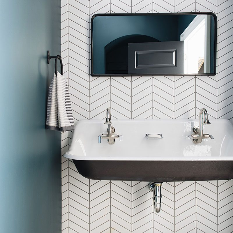 Kenowa Builders: Modern Bathroom Makeover, Neutral Bathroom Remodel, herringbone tile