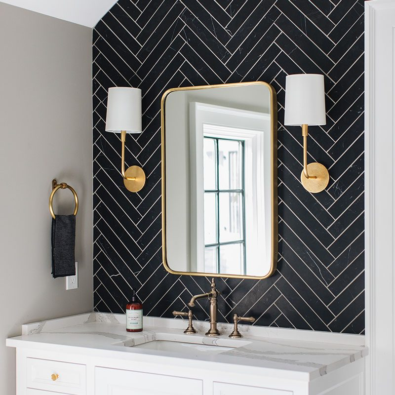 Kenowa Builders: Modern Bathroom Design, Master Bathroom Makeover, herringbone tile