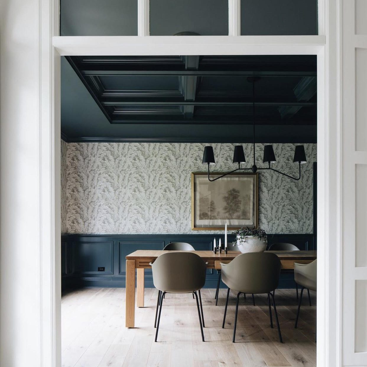 Modern Farmhouse Dining Room Makeover by Kenowa Builders, Navy Dining Room, Modern Dining Room Design