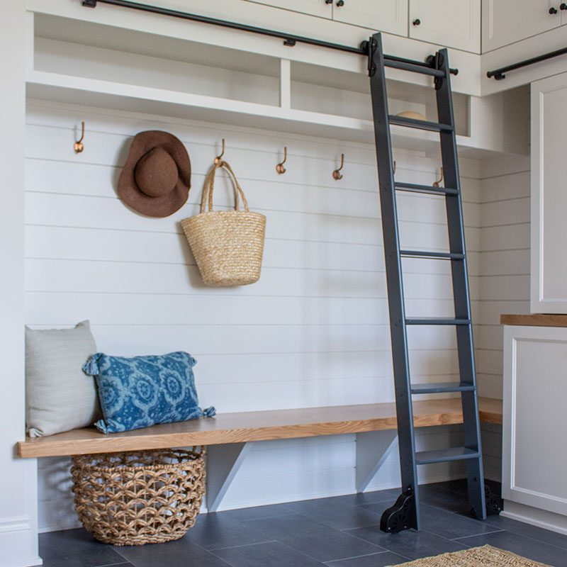 Kenowa Builders: Modern Farmhouse Mudroom Design, White Laundry Room Design