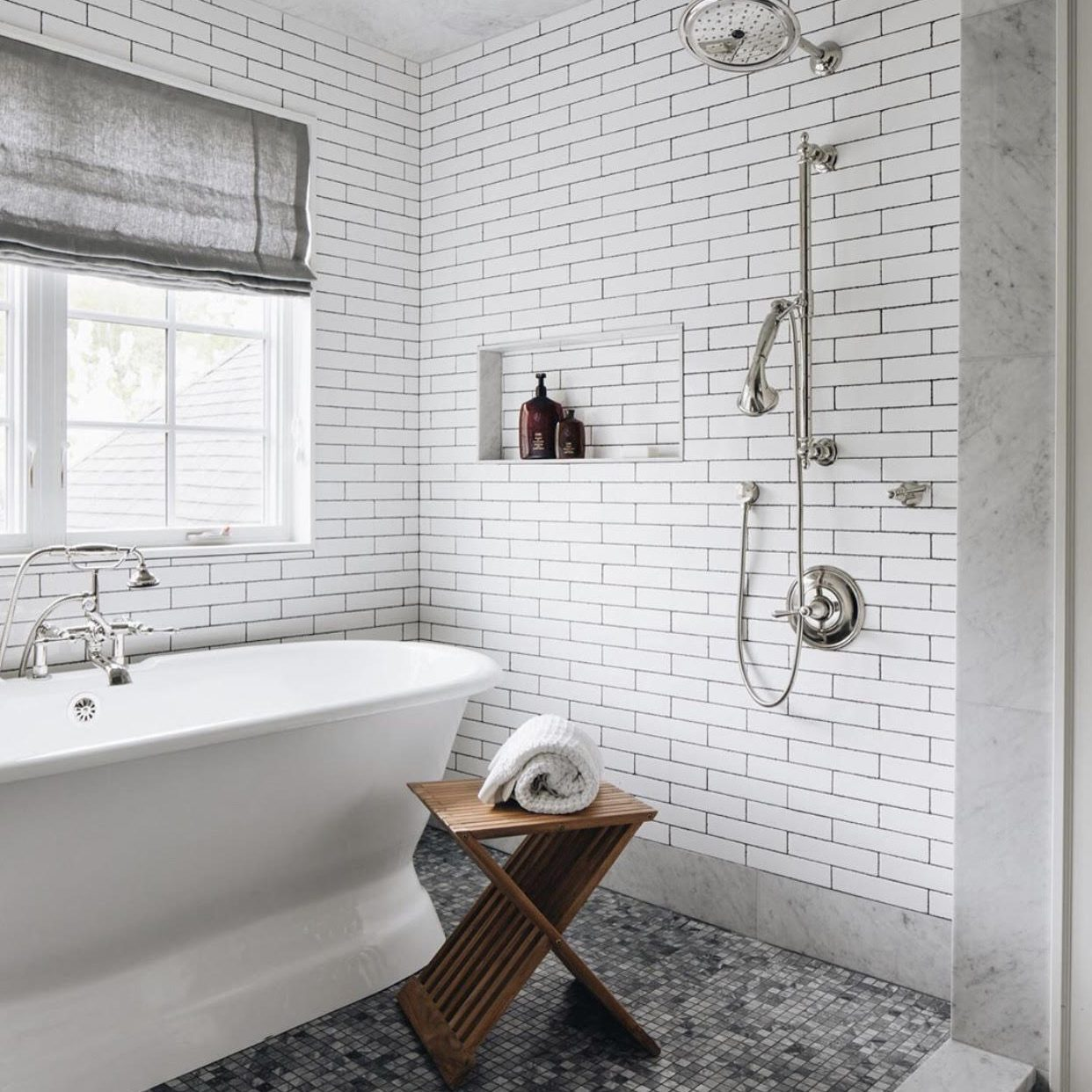 Modern Farmhouse Bathroom by Kenowa Builders, Walk In Tile Shower and Bathtub in Neutral Bathroom Design